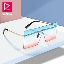 DENISA Shield Oversized Sunglasses Women Men Trendy Glasses