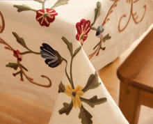 HBZ211 fabric beige linen Illustration tablecloth table cloth runner cover napkin embroidered flower floral square rectangle