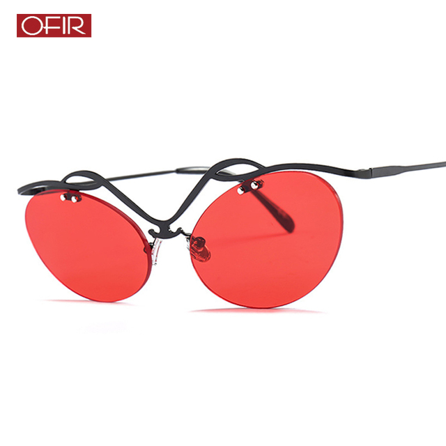 2041e2fdae OFIR 2019 Cat Eye Hollow Rimless Sunglasses Men NEW Classic Oval Glasses  Women Steampunk Movie Eyewear