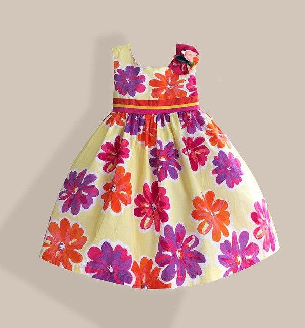 Желтый цветочный мода детей платье лента ремня цветок с бантом платья без рукавов кин-длина - длина 100% хлопок подкладка детская одежда