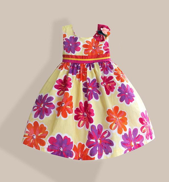 4ad14f20c Yellow Floral Fashion Children Dress Ribbon Belt Flower Bow Girls Dresses  Sleeveless Keen-Length 100