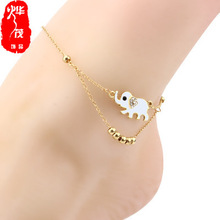 Ethnic style elephant beaded alloy chain beach anklet oil drop handmade female foot jewelry