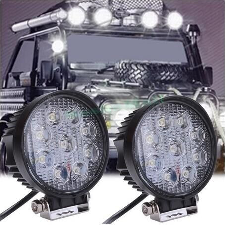 catuo 4 Inch 27W 12V 24V LED Work Light Spot/Flood Round LED Offroad Light Lamp Worklight for Off road Motorcycle Car Truck