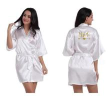 personalized Bridal Party Robes Bridesmaids bride tribe Robe Bridal Shower Gift Variety Of Colors Size S-XXL cheap CINOLE Faux Silk Solid Short summer WOMEN Satin Silk Polyester Above Knee Mini 8777