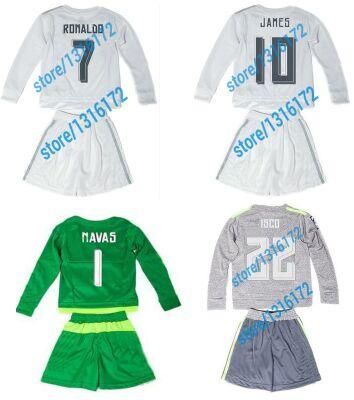 Artes de Equipaciones de futbol niños 2016 Ninos verde portero keylor navas  kids soccer manga larga jersey bale 2015 jersey 16 en Camisetas de fútbol  de ... b34add94e2010