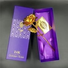 24 К Золотой Фольги Покрытием Роза Ближнего Золото Свадебные Украшения Цветок День святого валентина Подарок любовника 24 К Золото роза искусственный цветок