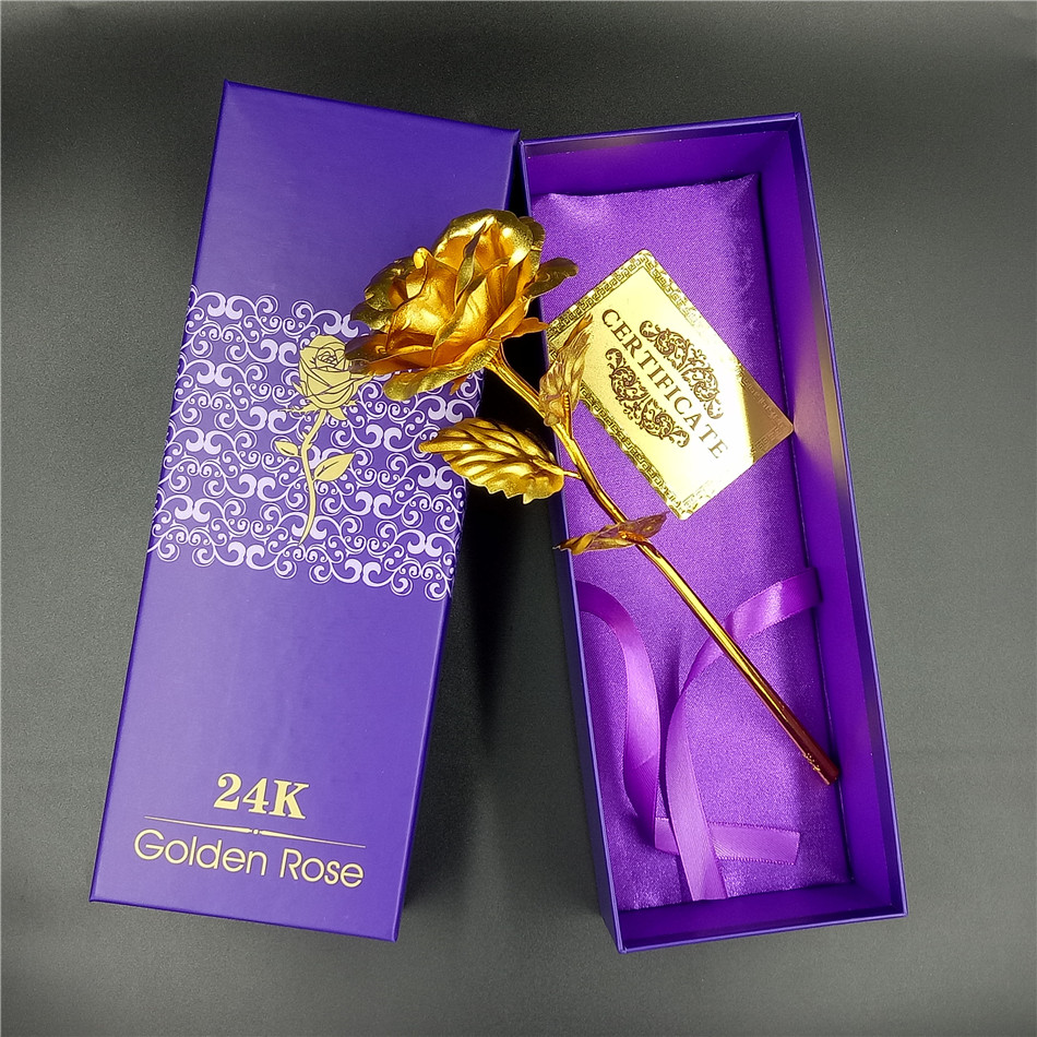 Personlig 24k guldpläterad Rose Dipped Gold Wedding Decoration Blomma Valentinsdag Gift älskares konstgjorda blomma