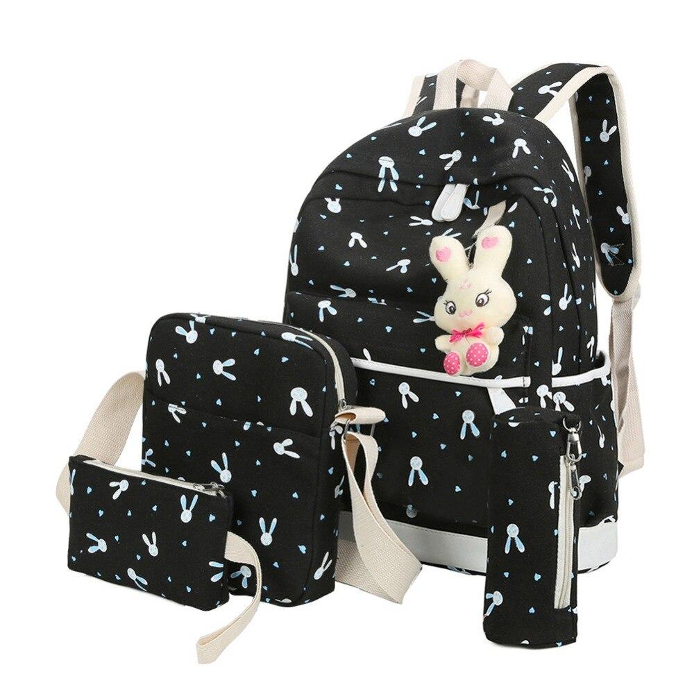 4pcs/sets Women Backpacks Cartoon Rabbit Printing Canvas Schoolbags For Teenage Girls Students Children Mochila Feminina #5
