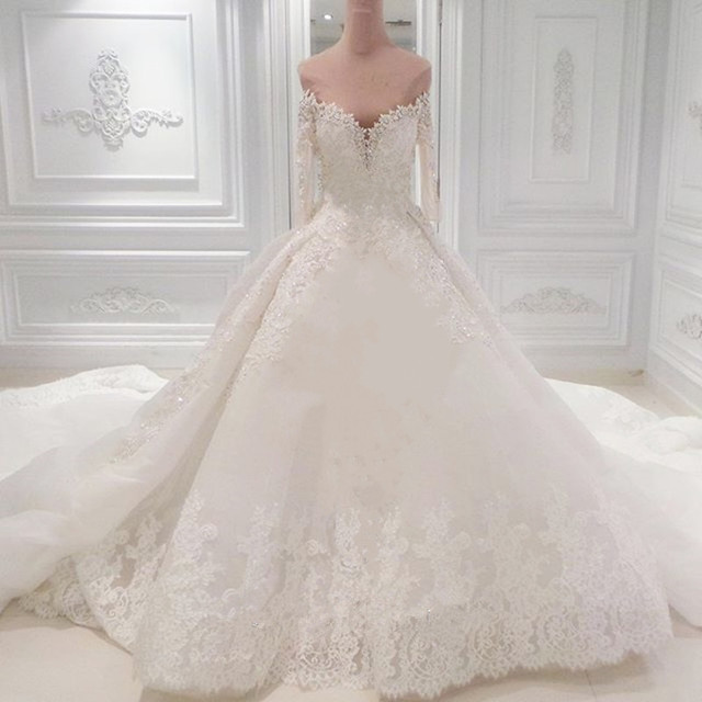 2018 Exquisite Wedding Dresses Sweetheart Long Sleeves Beaded Bridal Gown Vestido De Casamento 2017 Dress