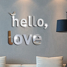 Hello Love Letters Acrylic Mirror Wall Sticker Creative English Alphabet Wall Stickers For Bedroom Living Room Mural Home Decor mirror wall stickers sticker room decoration home decor kids for bedroom variety fonts name letters alphabet customizable r242