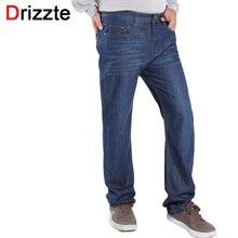 Drizzte Бренд Мужской Джинсы Плюс Большой Размер 40 42 44 46 джинсы Стрейч Синий Деним Большой и Высокий Высокой Талии Брюки Брюки