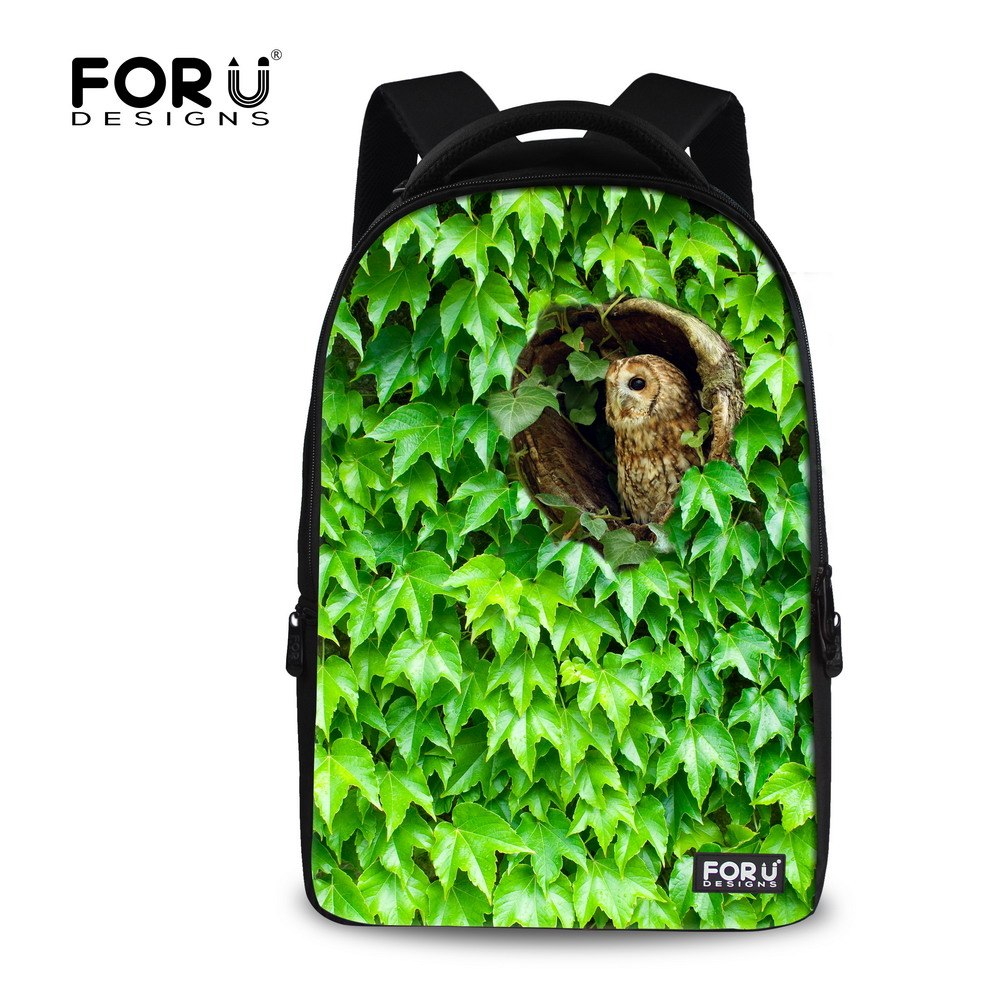 Cute Animal Zoo Backpack Owl Green Plant Print School Backpack for Teenager Girls Laptop Bagpack 17 Inch Large Travel Rucksack 17 inch fashion teenager school backpacks 3d cute animal cat printing backpack for women large travel rucksack mochila