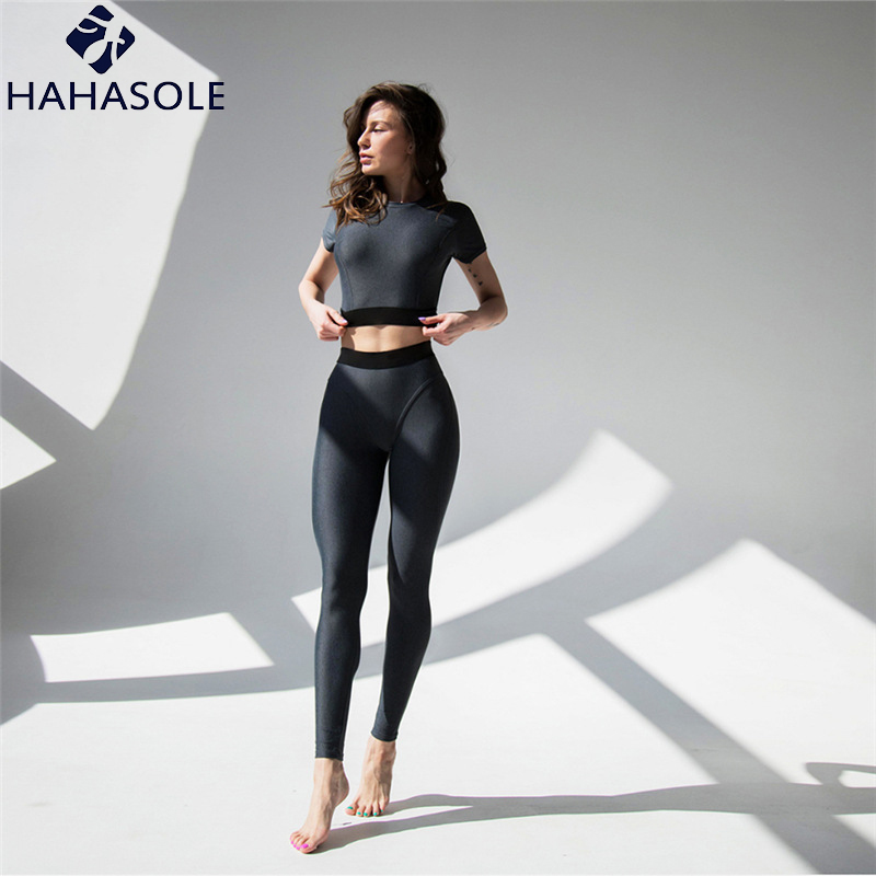 HAHASOLE <font><b>Sport</b></font> Suit Women Gym Clothing Push Up <font><b>2018</b></font> Solid Patchwork Sportswear <font><b>Sexy</b></font> <font><b>Yoga</b></font> Sets Leggings For <font><b>Fitness</b></font> HWA1592-47 image
