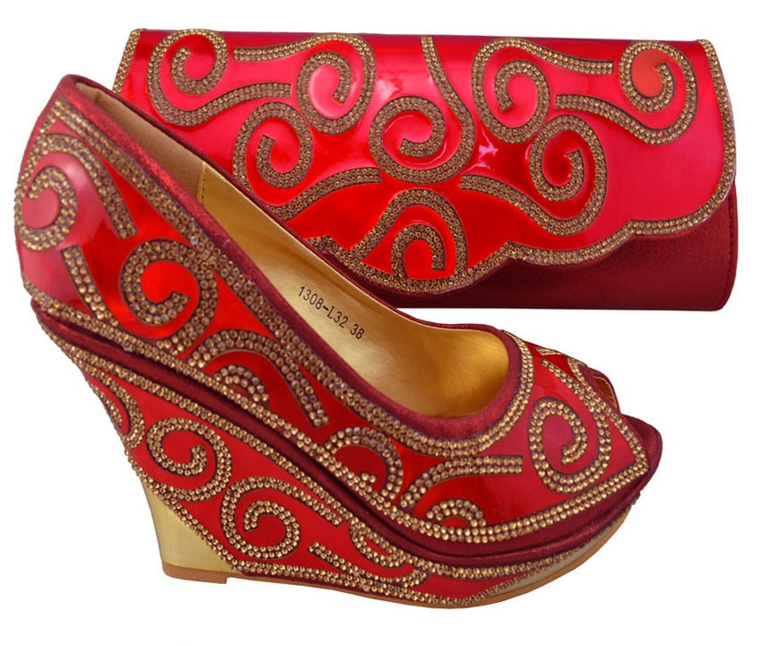 ФОТО Red Shoes And Bag To Match Italian African Shoes And Bags Matching Set High Quality Matching Italian Shoes And Bag Sets 1308-L32