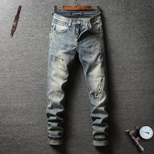 Italian Vintage Style Men Jeans Retro Wash Slim Fit Ripped Elastic Classical Pants Fashion Streetwear Hip Hop