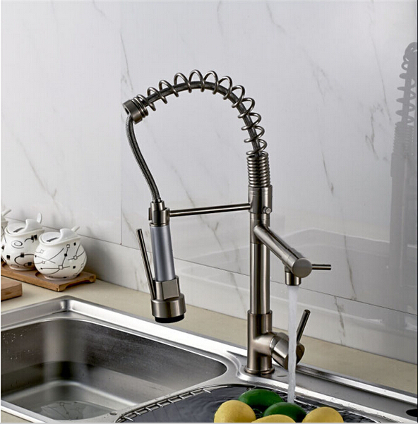 Luxury Chrome Nickel Double Spout Pull Down Kitchen Sink Faucet Single Handle Brass Kitchen Mixer Taps