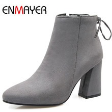 ENMAYER Short Boots Shoes Woman High Heels Pointed Toe Ankle for Women Plus Size 34-47 Black Red Gray Womens