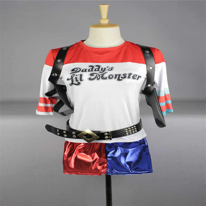 Hohe Qualität Cosplay Kostüm Selbstmord Squad Harley Quinn T-Shirt Shorts Batman Joker Papa der Lil Monster Clown Druck Cosplay