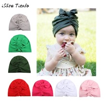 turban baby mutsjes Flower Hollow Bowknot bonnet enfant hiver Headbands gorritos bebe baby helmet newborn cap hat for baby girl(China)