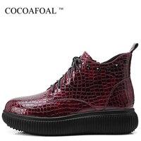 COCOAFOAL Women's Platform Shoes Sheepskin Flats Casual Flat Platform Woman Plus Size Winter Autumn Genuine Leather Flats 2018