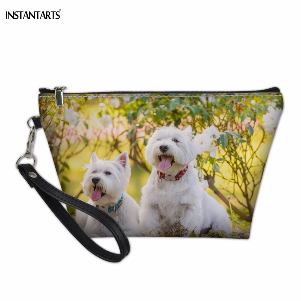 INSTANTARTS Funny Dog Westie/West Highland Terrier Print PU Leather Woman Cosmetic Cases Brand Design Zipper Large Make Up Bags