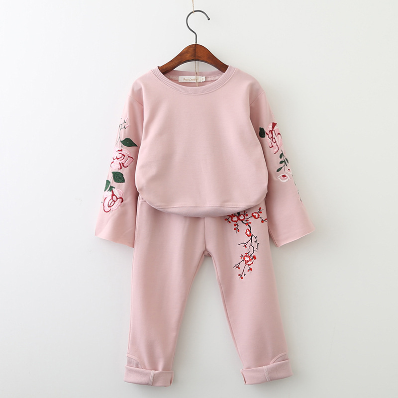 Flower Embroidery Children Suits Pullover Sweatshit + Loose Pants 2Pieces Kids Clothing  ...