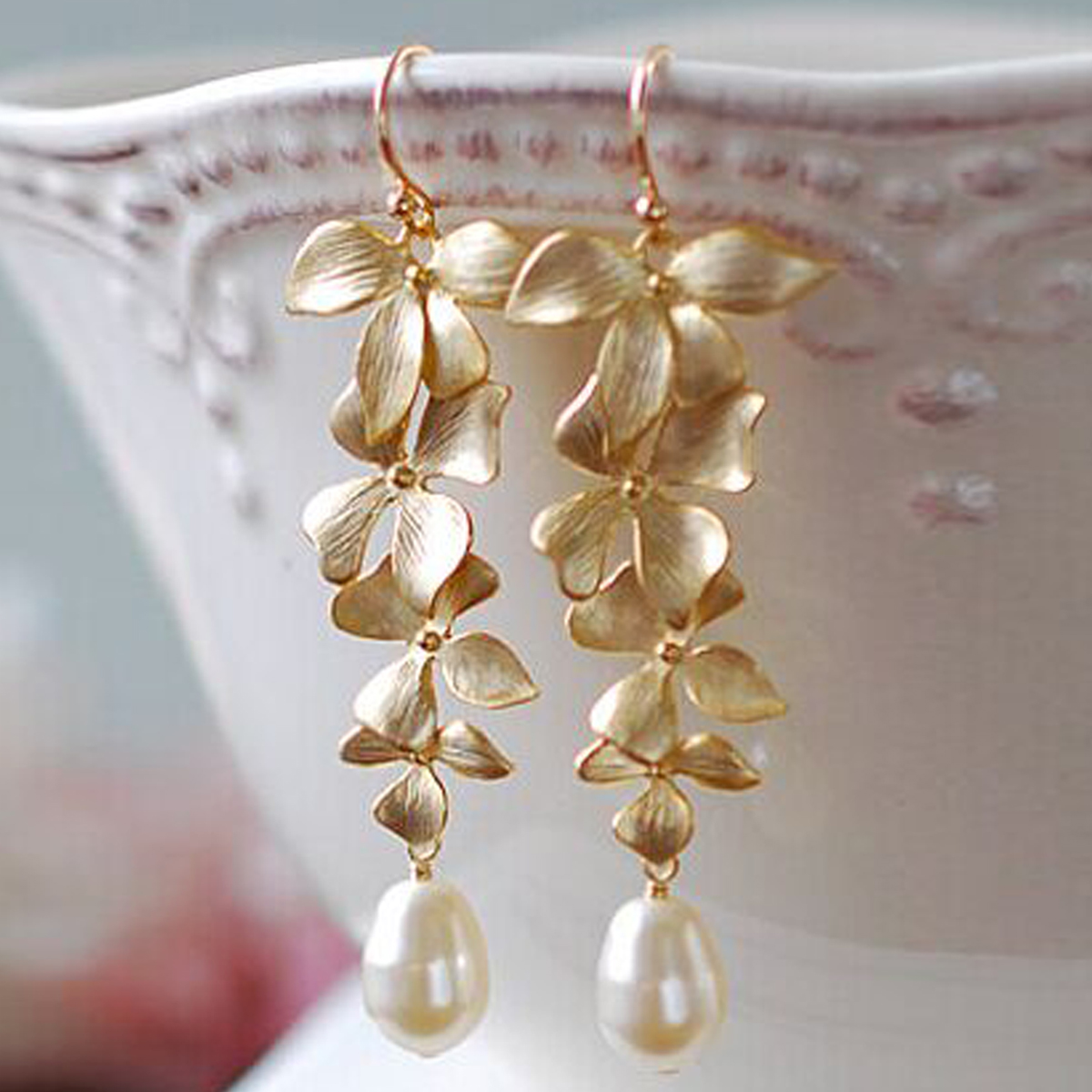 Orchid Floral Shape Gold Color Simulated Pearl Long Dangle