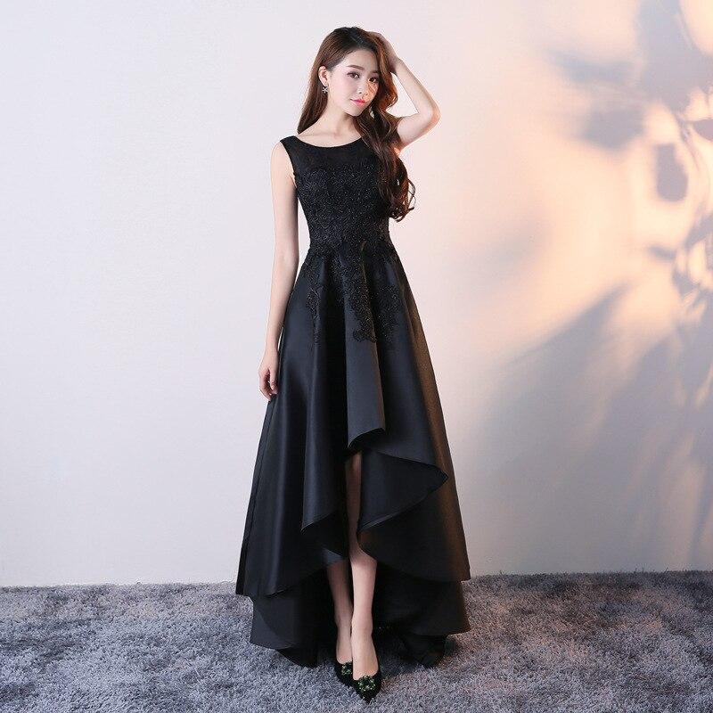 Femmes robe 2019 nouvelle Noble robe noire élégante délicate dentelle col rond Maxi robe Appliques décoration robe de soirée robes