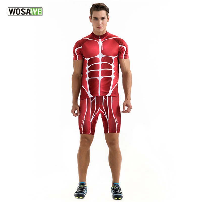2017 New Arrival WOSAWE Short Sleeve Cycling Jerseys Red Muscle Bicycle Suit Unisex Top 3D Silicone Gel Padded Cycling Suits 2016 new men s cycling jerseys top sleeve blue and white waves bicycle shirt white bike top breathable cycling top ilpaladin