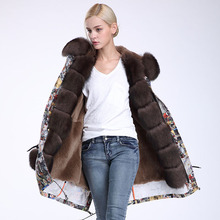 Winter Women High Fashion Long Camouflage Big Real Fox Fur Hooded Cuff Rabbit Fur Liner Jackets Parkas Female Thick Warm Coats