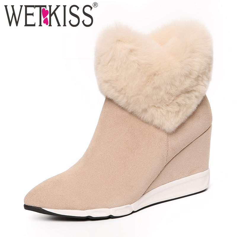 WETKISS Kid Suede Women Ankle Boots Pointed Toe Footwear High Heels Fur Female Boot Wedges Platform Fur Snow Shoes Woman Winter wetkiss pearl high heels women ankle boots pointed toe footwear stretch female sock boots fur suede shoes woman plus size 32 43