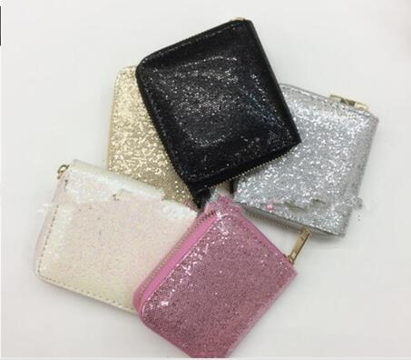 2019 Women Wallet Women Long Glitter Sequin Wallets New Money Purse Solid Color Credit Card Bags wallet