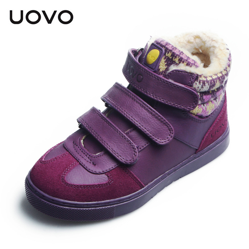 все цены на Big Girls Boys Spring Winter Shoes New Uovo Brand Kids Boots Sports Sneakers Bottes De Neige Flat Heel Soft Shoes 30-38 Zapatos онлайн