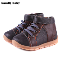 2016 New Autumn Genuine Leather Cotton Padded Boys Boots Fashion High Top Flat Children Sneakers Slip