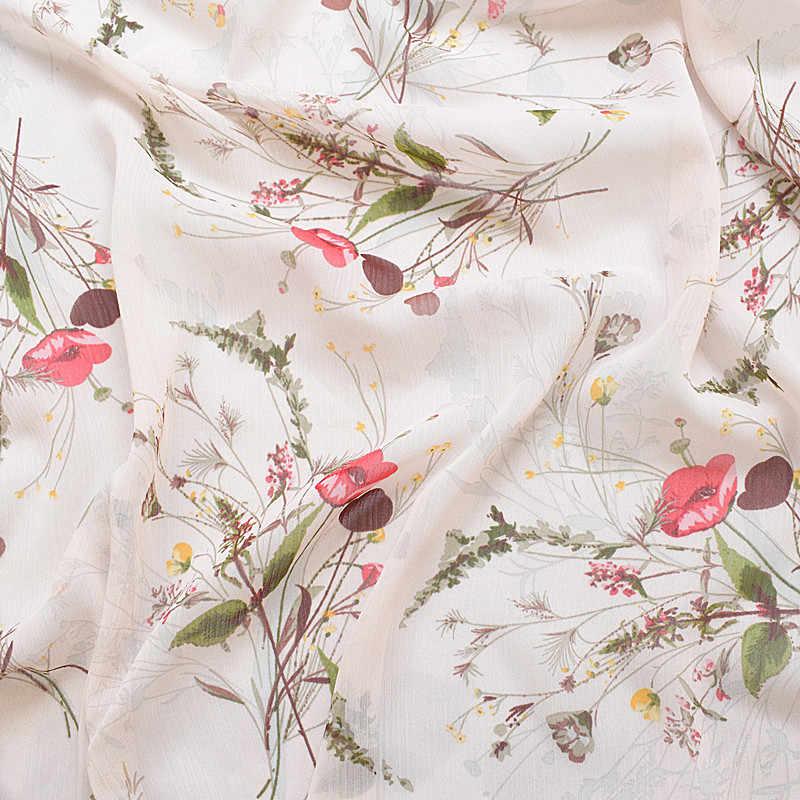 2019 novos impressos tecidos de seda tecidos de chiffon de seda primavera e verão luz base de rosa floral suave