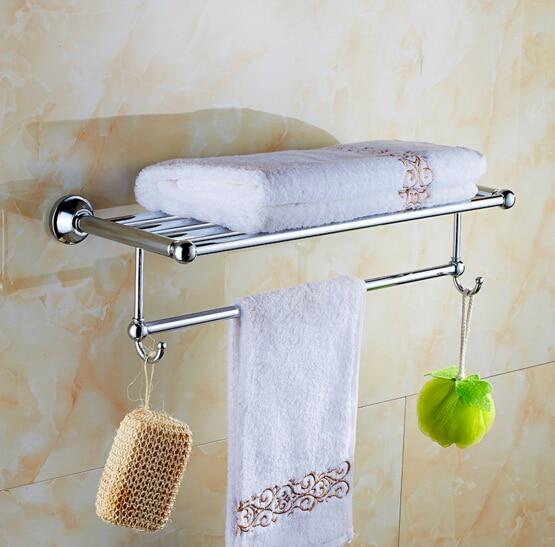 Modern Chrome Fixed Bath Towel Holder with hooks Stainless Steel Towel Rack Holder for Hotel or Home Bathroom Storage Rack Shelf