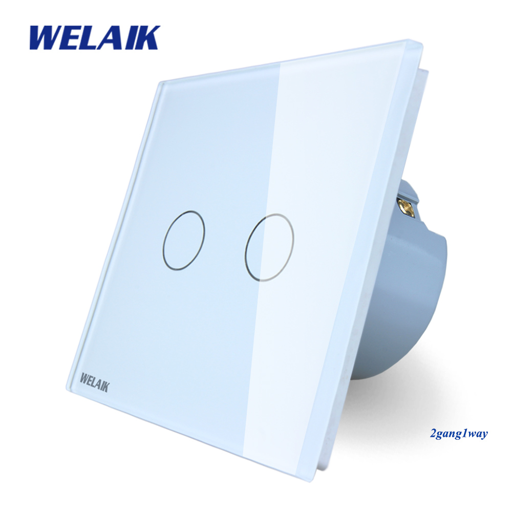 WELAIK Crystal Glass Panel Switch White Wall Switch EU Touch Switch Screen Wall Light Switch 2gang1way AC110~250V A1921CW/B smart home black touch switch crystal glass panel 3 gang 1 way us au light touch screen switch ac110 250v wall touch switches