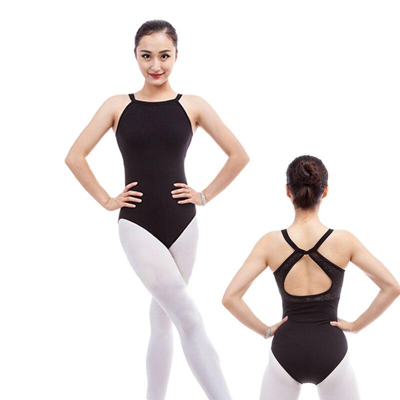 ab05ef3d2d Meninas Halter Leotards Ballet Preto Pendurar No Pescoço Roupas de Dança  Desgaste Da Nadada Spandex Algodão Ginástica Leotards Para As Mulheres