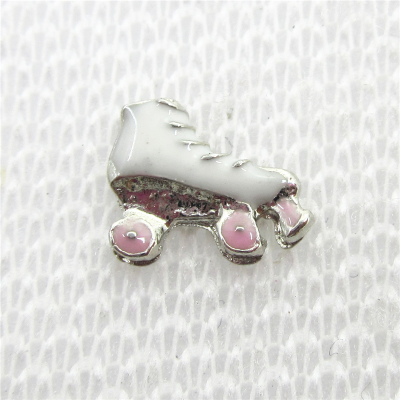 Hot selling 20pcs/lot Sports charm roller skate Shoe Floating Charms Living Glass Memory Floating Lockets DIY Jewelry Charms