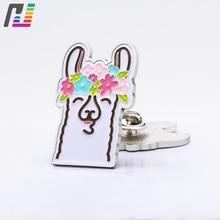 ФОТО custom wholesale cute flower smile soft enamel pin floral alpaca pin badge 1.5inch sheep pins