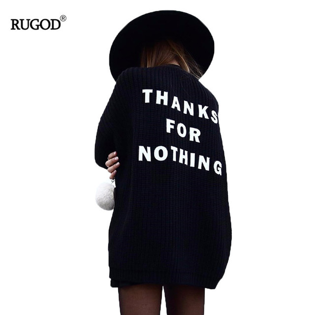 Rugod 2019 New Autumn Fashion Knitted Cardigan Women Warm Sweater Female Casual Letter Embroidery Knitted Pull Femme Slim Coat