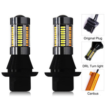Dual Color 1156 BA15S/BAU15S T20 7440 LED Bulbs fog lightsTurning Lights DRL 66SMD 4014 White Amber/ice bule Error Free Canbus 1156 bau15s py21w dual color white ice blue amber yellow switchback led turn signal light error free canbus with resistor drl
