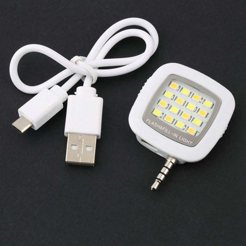 Mini 16 LED Selfie External Flash Fill-in Light Cellphone Camera Pocket Spotlight Photo Lamp Speedlite for IOS Android Phone ...