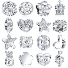 1PC Making Silver European Charms Beads Fit Brand Bracelet Jewelry Tibetan Crystal Spacer not fade