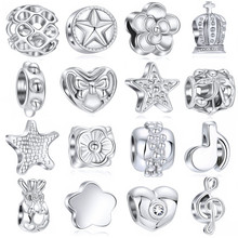 1PC Making Silver European Charms Beads Fit Brand Bracelet Jewelry Making Tibetan Silver Crystal Spacer Beads not fade(China)