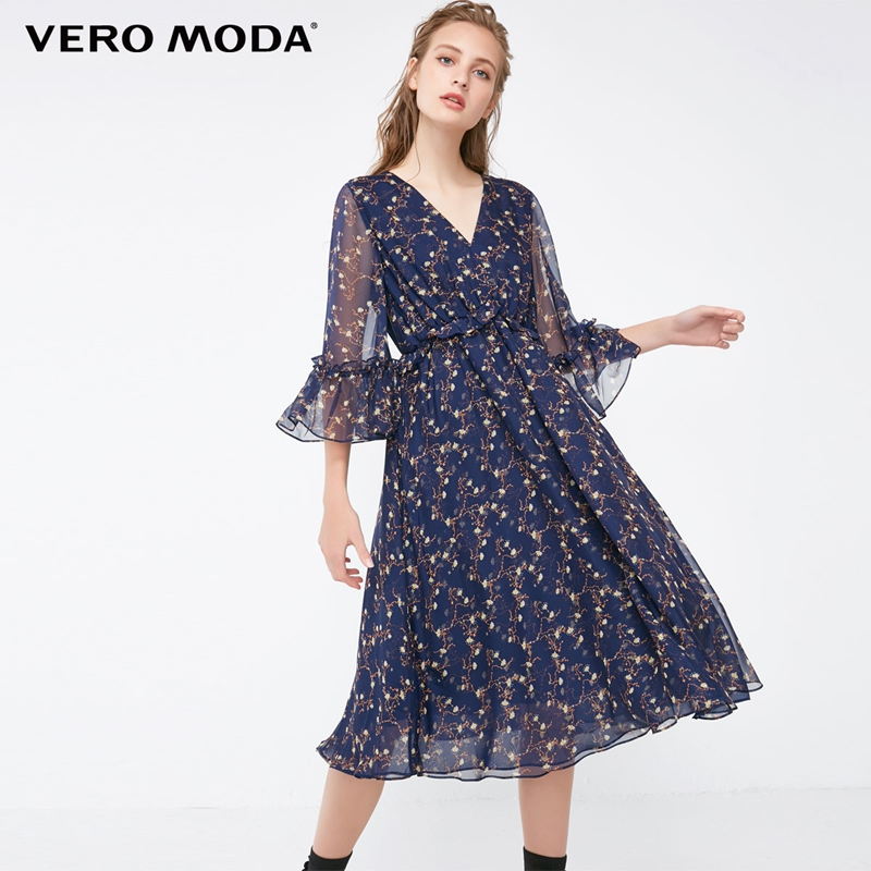 Vero Moda Printed Frilled Flare Sleeves Midi Dress Chiffon Summer Dress 2019 31837C510