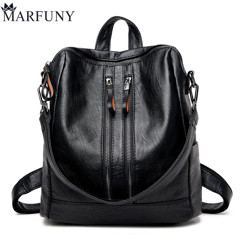 MARFUNY Brand Pu Leather Backpack Women Bags Fashion Casual Women Backpack For Teenage Girls Travel Backpack Famous Brand Mochil caker 2018 fashion pu leather women backpack brand drawstring shoulder bags for teenage girls mochila feminime backpack