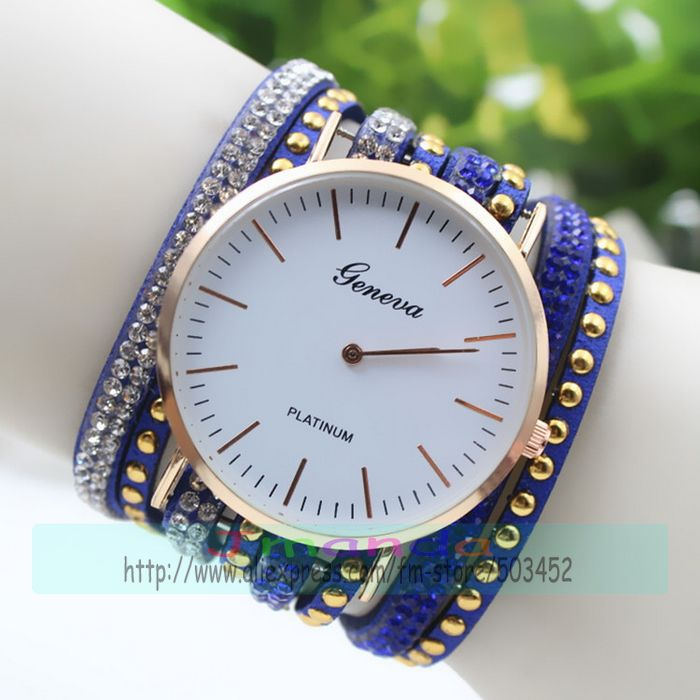 Independent 100pcs/lot Geneva Brand Crystal Leather Watch Wrap Around Long Strap Lady Watch Beaded Weave Quartz Watch Elegance Wristwatch Superior Materials Watches