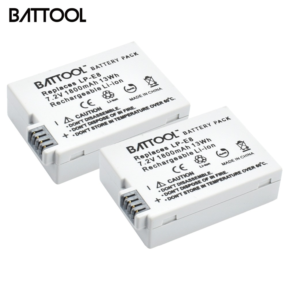 2Packs 7.2V 1800mAh LP-E8 LP E8 LPE8 Li-ion Camera <font><b>Battery</b></font> For <font><b>Canon</b></font> EOS 600D 650D <font><b>550D</b></font> 700D T4i T5i Rebel T2i Bateria DSLR image