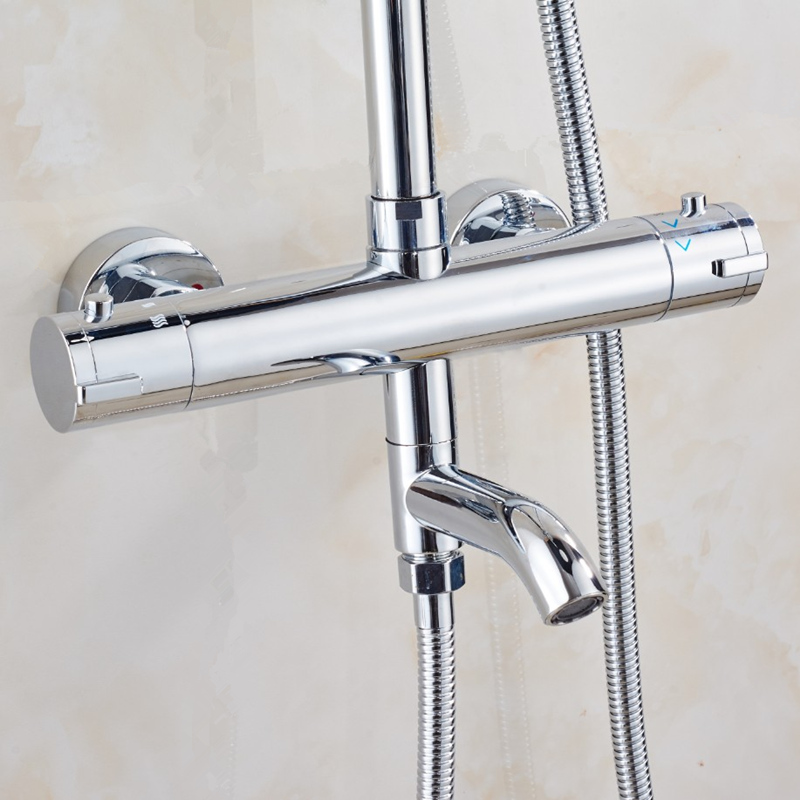 High quality brass chrome wall mounted bathroom thermostatic faucet the constant temperature faucet the mixer shower